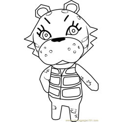 Bianca Tiger Animal Crossing Free Coloring Page for Kids