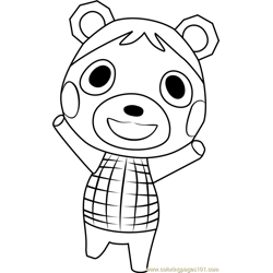 Bluebear Animal Crossing Free Coloring Page for Kids