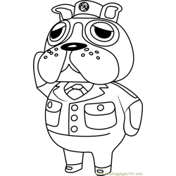 Booker Animal Crossing Free Coloring Page for Kids