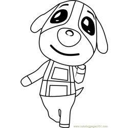 Cookie Animal Crossing Free Coloring Page for Kids
