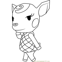 Diana Animal Crossing Free Coloring Page for Kids