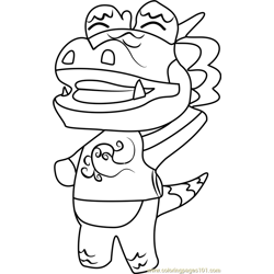 Drago Animal Crossing Free Coloring Page for Kids
