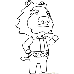Elvis Animal Crossing Free Coloring Page for Kids