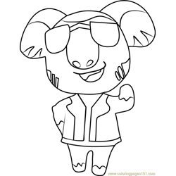Eugene Animal Crossing Free Coloring Page for Kids