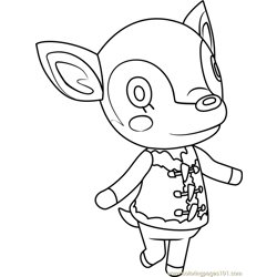 Fauna Animal Crossing Free Coloring Page for Kids