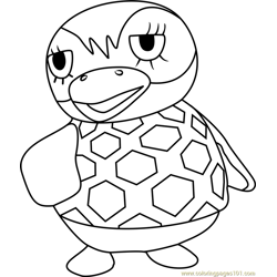Flo Animal Crossing Free Coloring Page for Kids
