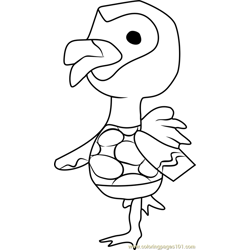 Flora Animal Crossing Free Coloring Page for Kids