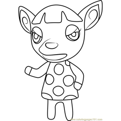 Fuchsia Animal Crossing Free Coloring Page for Kids