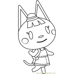 Katie Animal Crossing Free Coloring Page for Kids