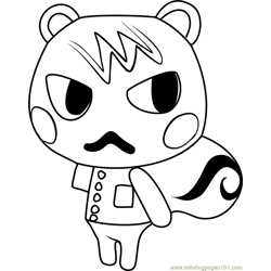 Marshal Animal Crossing Free Coloring Page for Kids