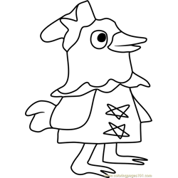 Plucky Animal Crossing Free Coloring Page for Kids