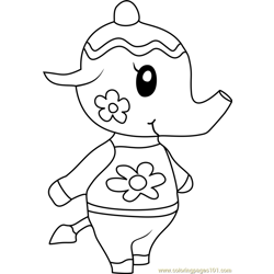 Tia Animal Crossing Free Coloring Page for Kids
