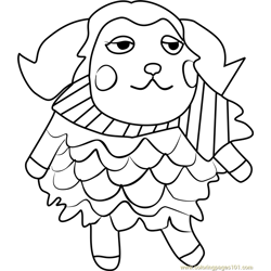 Timbra Animal Crossing Free Coloring Page for Kids