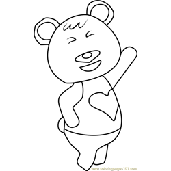 Tutu Animal Crossing Free Coloring Page for Kids