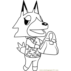 Vivian Animal Crossing Free Coloring Page for Kids