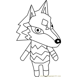 W Link Animal Crossing Free Coloring Page for Kids