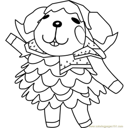Wendy Animal Crossing Free Coloring Page for Kids