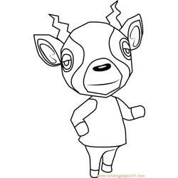 Zell Animal Crossing Free Coloring Page for Kids