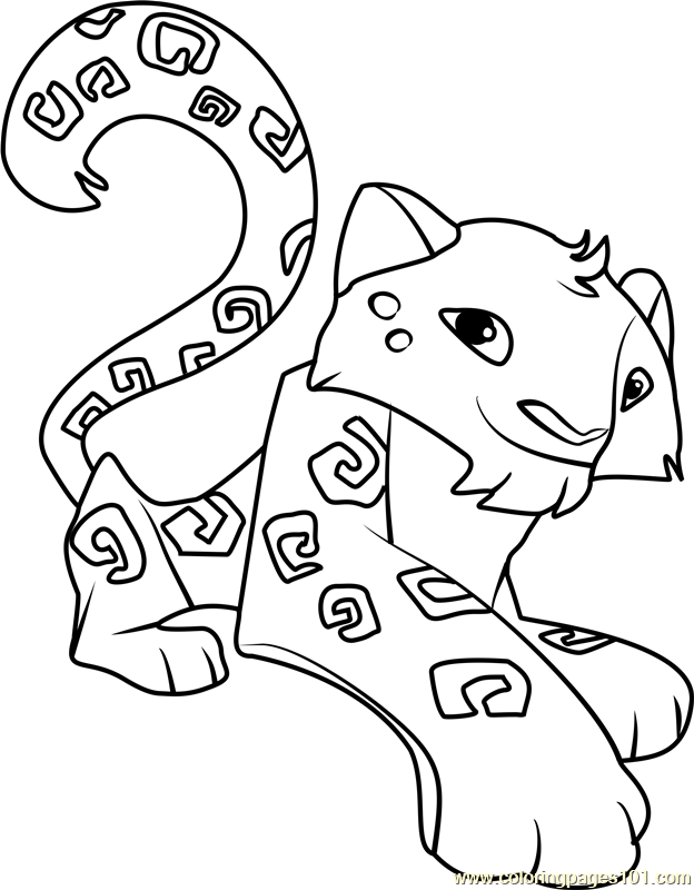 snow leopard Animal Jam Coloring Page