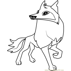 Arctic wolf Animal Jam Free Coloring Page for Kids