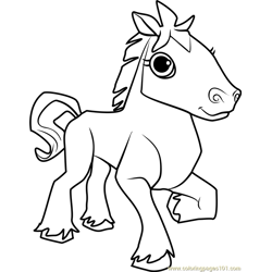 Horse Animal Jam Free Coloring Page for Kids