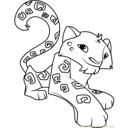 snow leopard Animal Jam Free Coloring Page for Kids