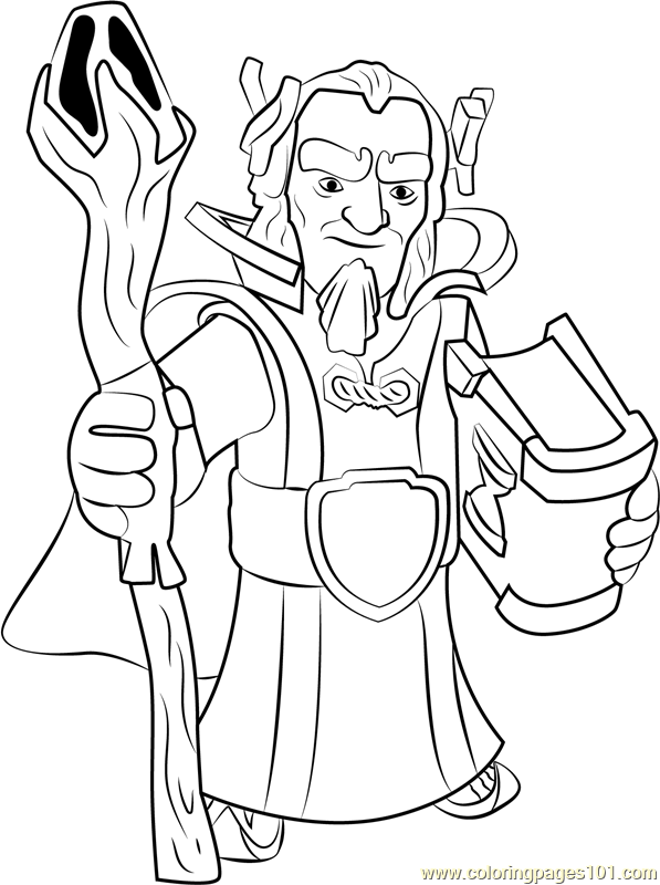Grand Warden Coloring Page Free Clash Of The Clans