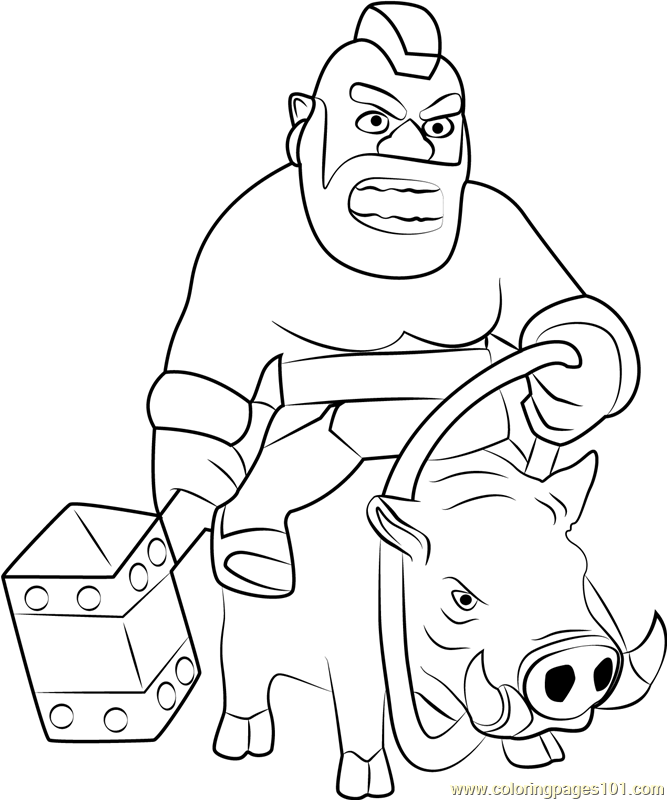 Hog Rider Coloring Page Free Clash Of The Clans Coloring
