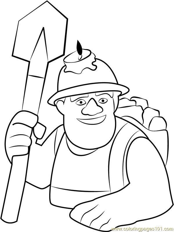 miner coloring page  free clash of the clans coloring