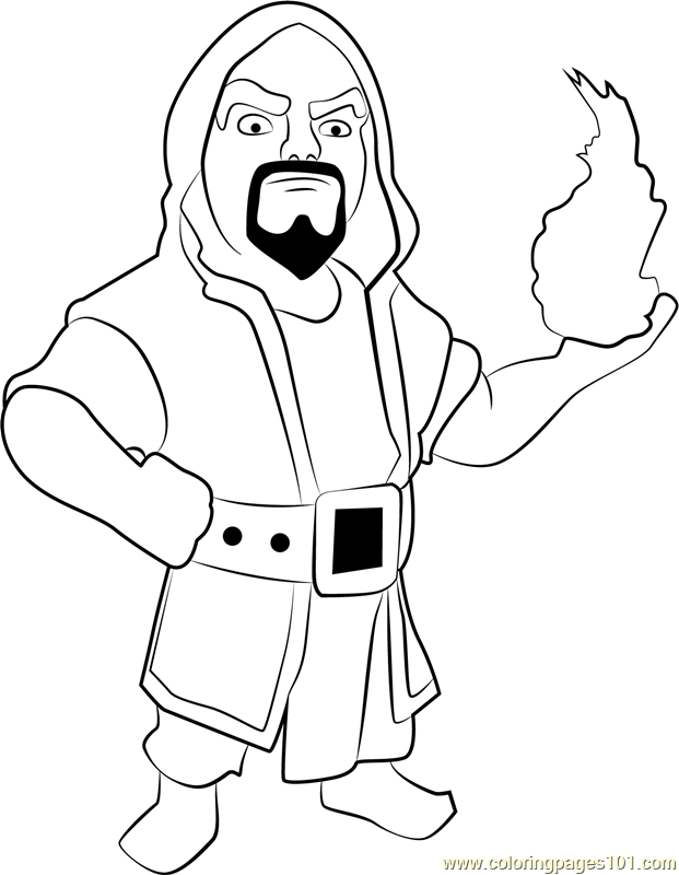 Wizard Coloring Page Free Clash Of The Clans Coloring
