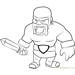 Barbarian Free Coloring Page for Kids