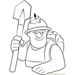 Miner Free Coloring Page for Kids