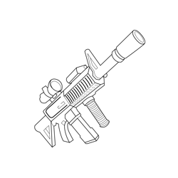 Scoped Assault Rifle Fortnite Free Coloring Page for Kids
