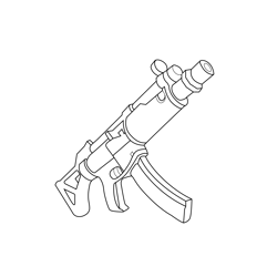 Submachine Gun Fortnite Free Coloring Page for Kids