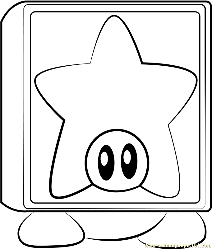 Star Block Waddle Dee Coloring Page