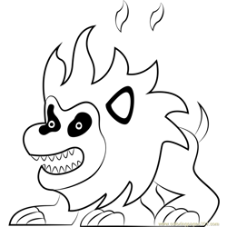 Fire Lion Free Coloring Page for Kids
