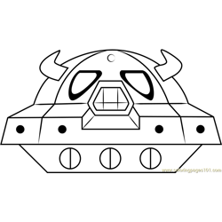Space Oohroo Spaceship Free Coloring Page for Kids