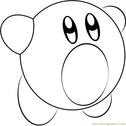 Yellow Kirby Free Coloring Page for Kids