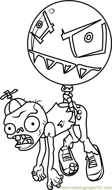 balloon zombie coloring page