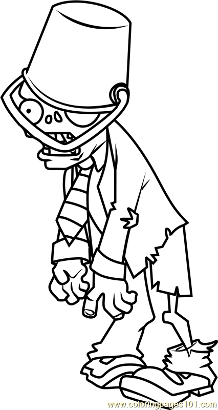 Buckethead zombie coloring page free plants vs zombies for Zombie coloring pages