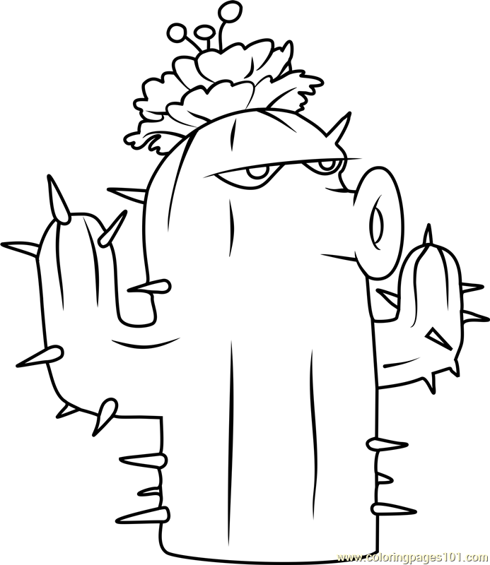 Cactus Coloring Page Free Plants vs Zombies Coloring Pages