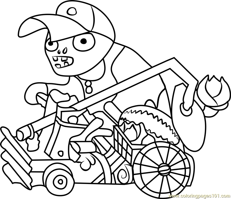 Catapult Baseball Zombie Coloring Page