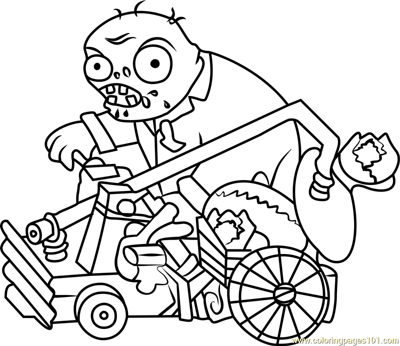 catapult zombie coloring page - Plants Vs Zombies Coloring Pages
