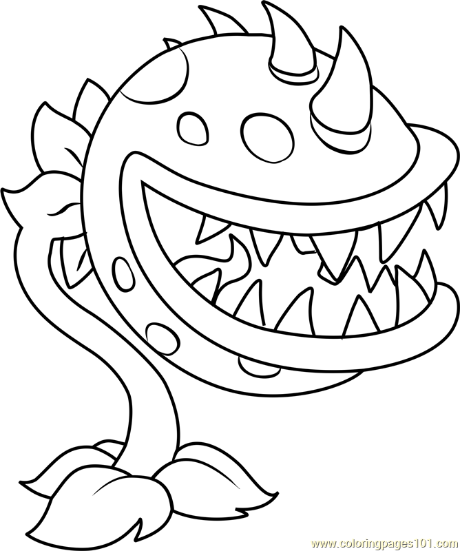 Coloring Pages For Plants Vs Zombies : Chomper coloring page free plants vs zombies