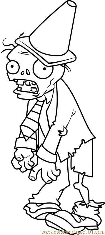 Conehead zombie coloring page free plants vs zombies for Pvz coloring pages