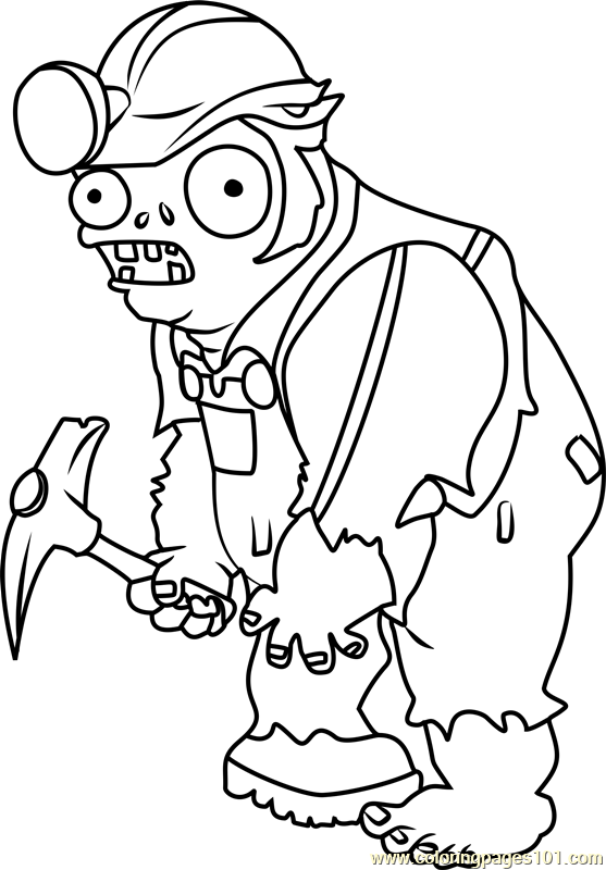 zombie coloring pages online - digger zombie coloring page free plants vs zombies