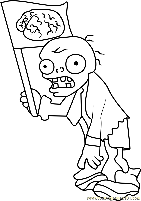 flag zombie coloring page  free plants vs zombies