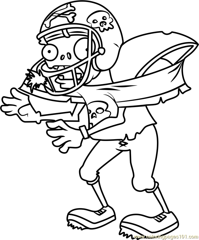 Football Zombie Coloring Page Free Plants vs Zombies Coloring