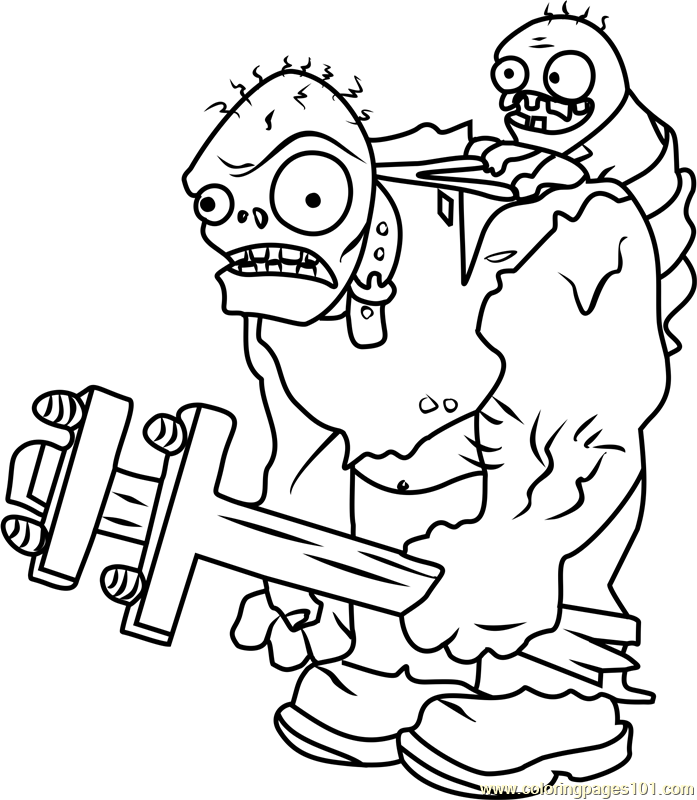 Gargantuar Coloring Page Free Plants vs Zombies