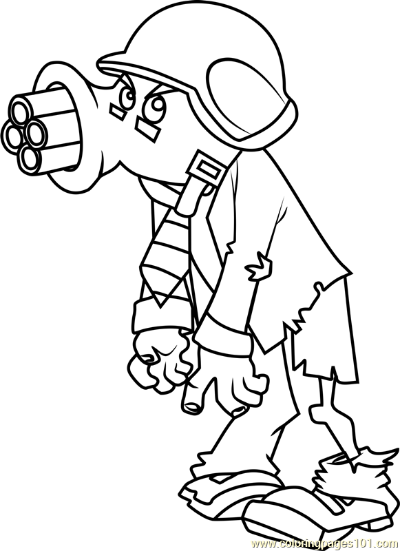 Gatling Pea Zombie Coloring Page - Free Plants vs. Zombies ...